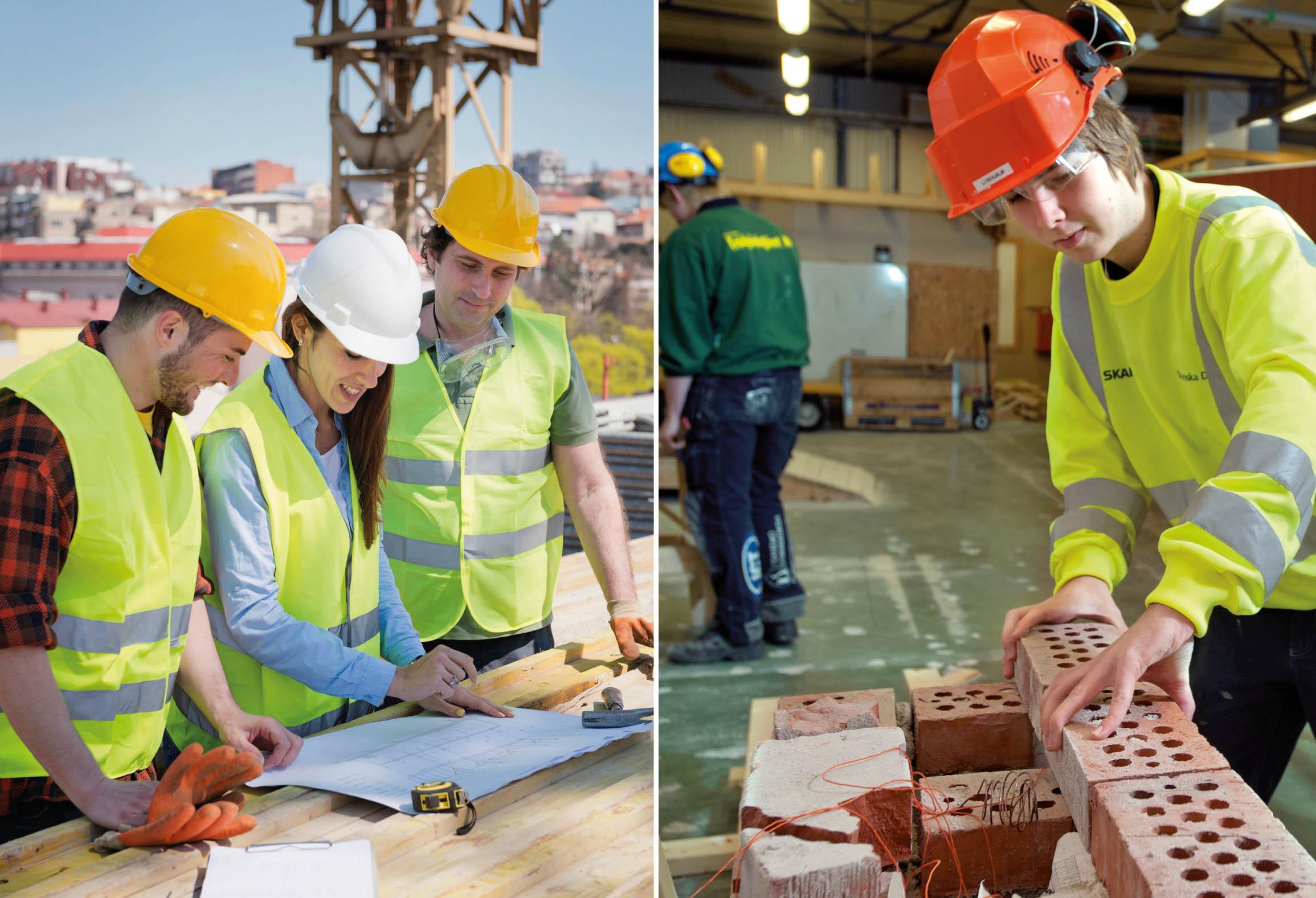 Byggarbetare läser en byggritning samt elev som bygger med tegelstenar