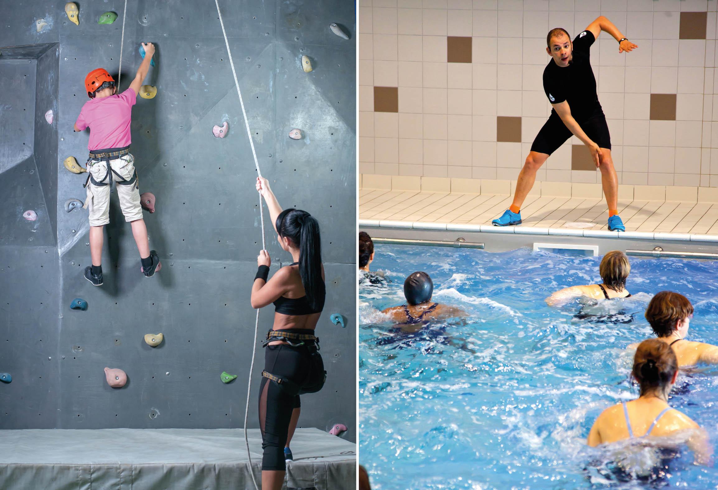 Vänster: Barn på klättervägg Höger: Vattengympaledare och deltagare