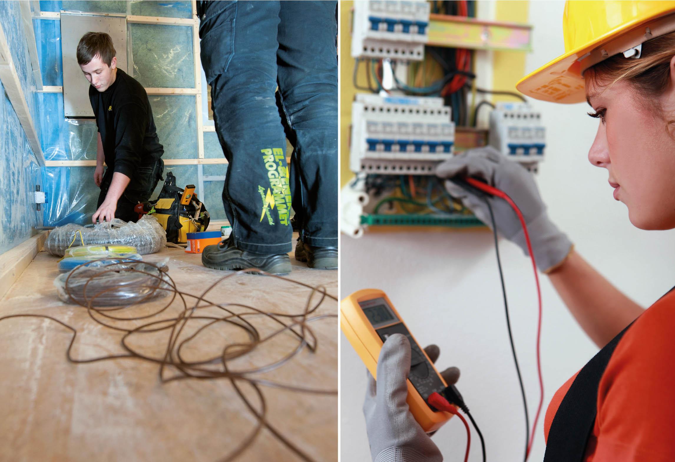 Elever drar elkablar samt elev som använder mätinstrument i elcentral
