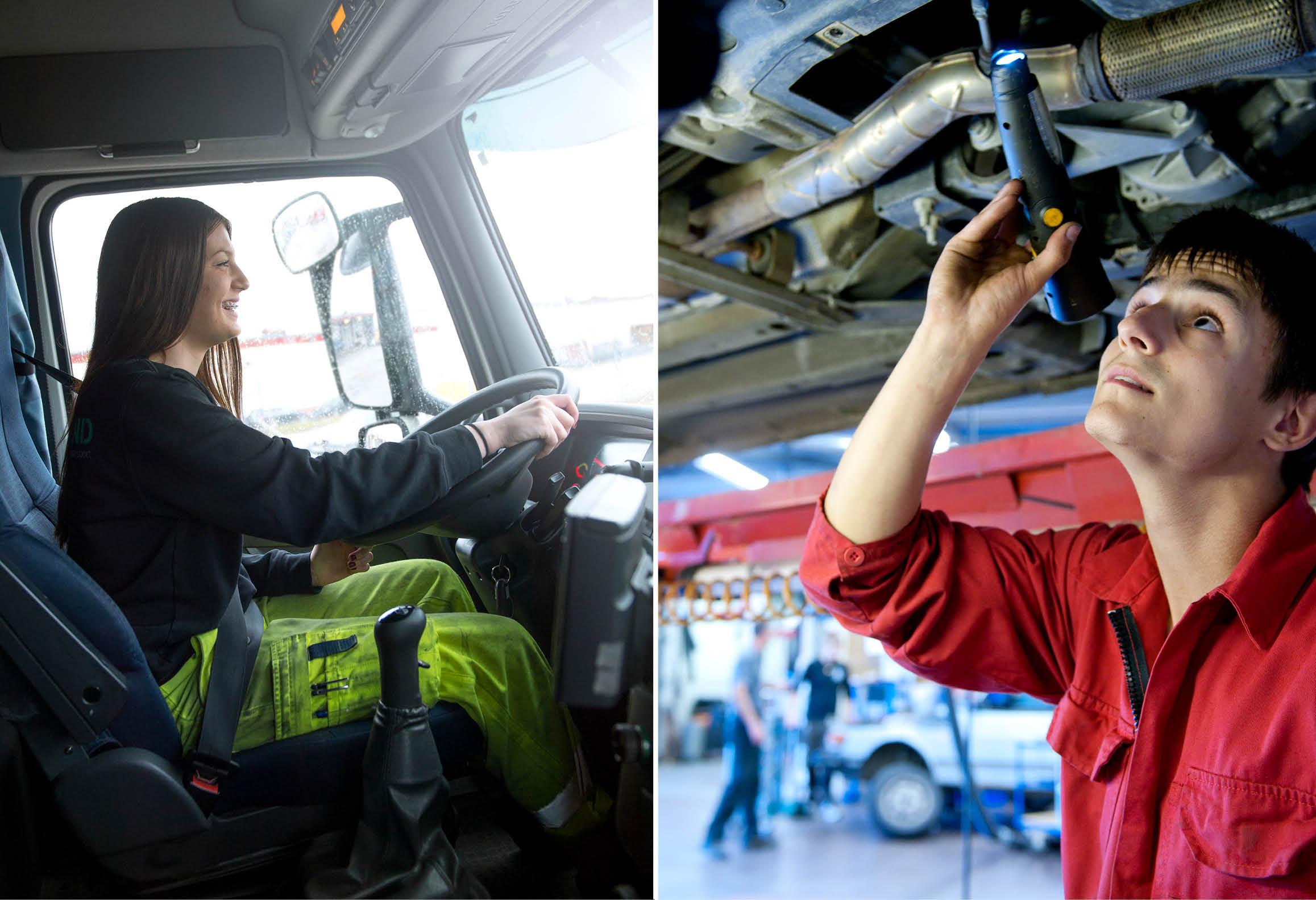 Vänster bild visar elev som kör lastbil. Höger bild visar elev som tittar på bilens underrede
