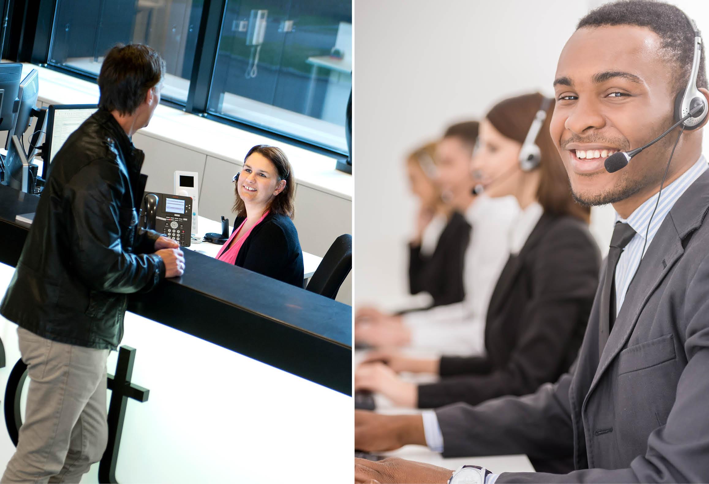 Vänster bild visar en kund vid en receptionsdisk. Höger bild visar kundtjänstmedarbetare med headset
