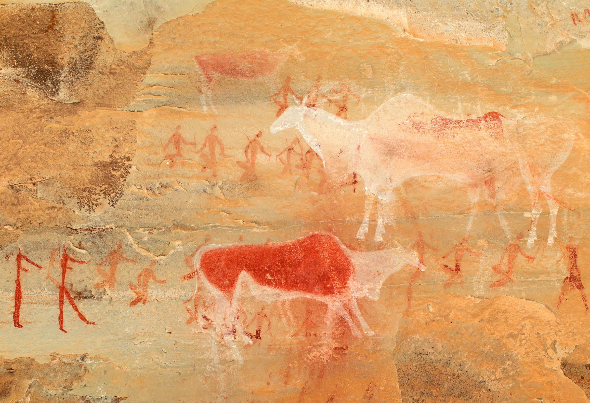 Bild på klippmålningar som gjordes för tusentals år sedan
