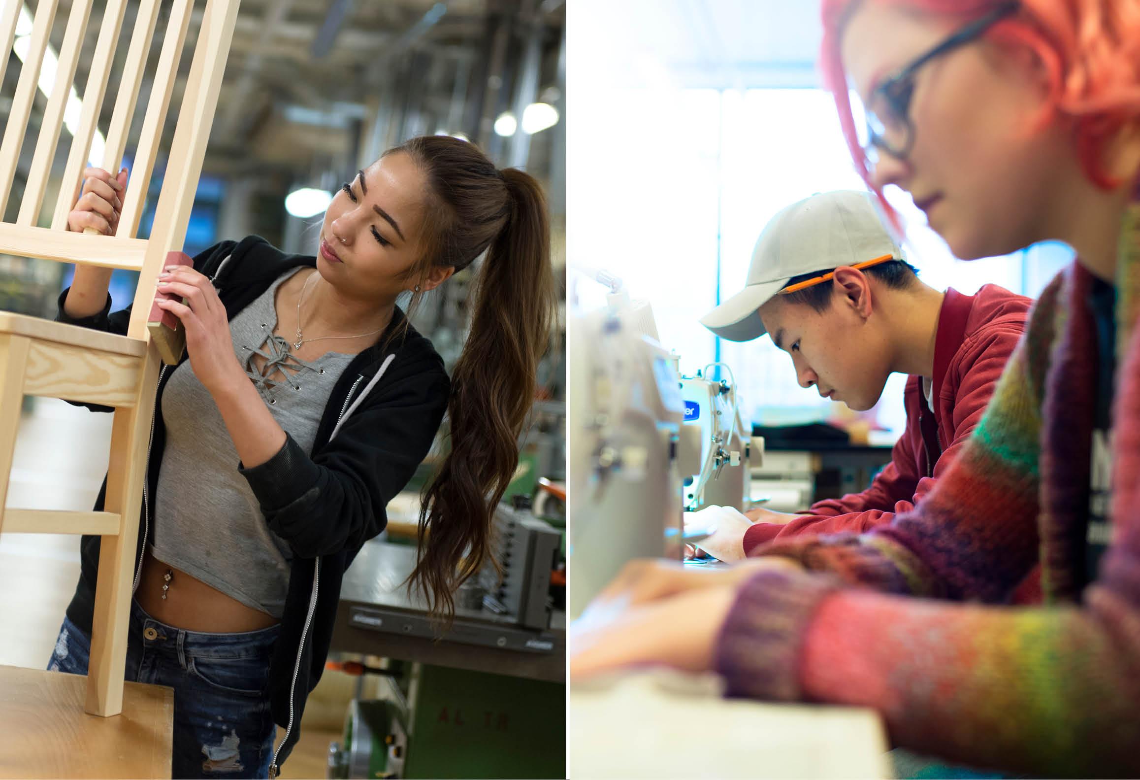 Möbelsnickare som slipar samt kläddesigner som använder symaskin