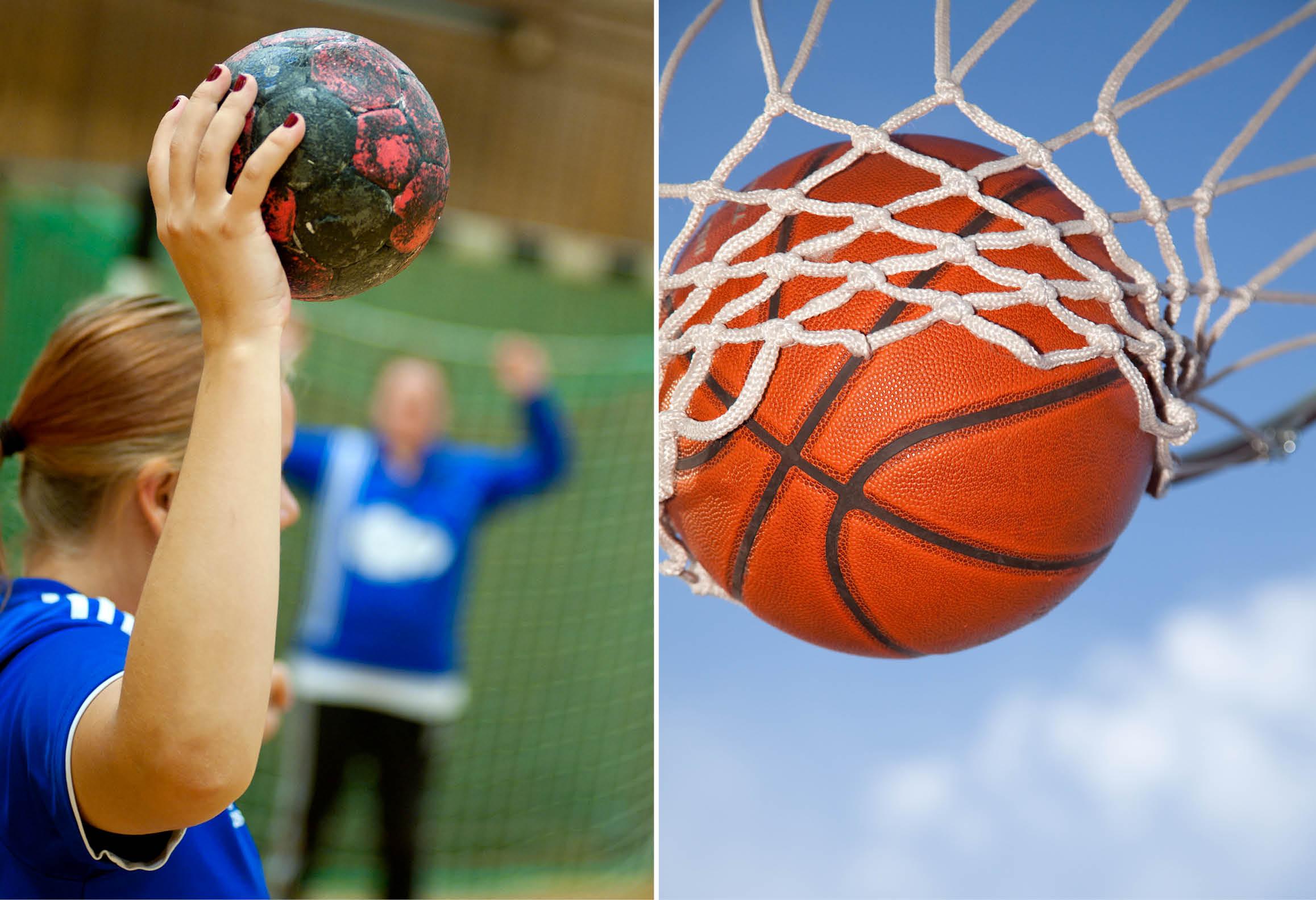 Vänster bild visar handbollsspelare. Höger bild visar basketboll i basketkorg