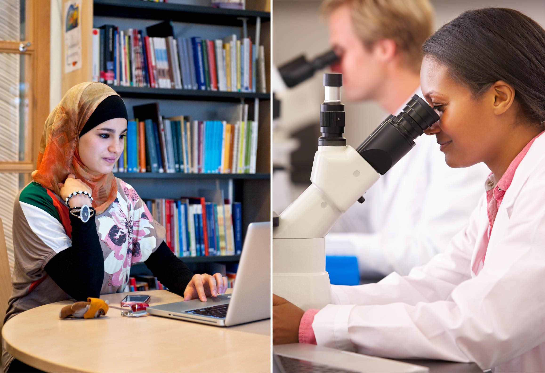 Elev med laptop i bibliotek samt elev som använder mikroskop