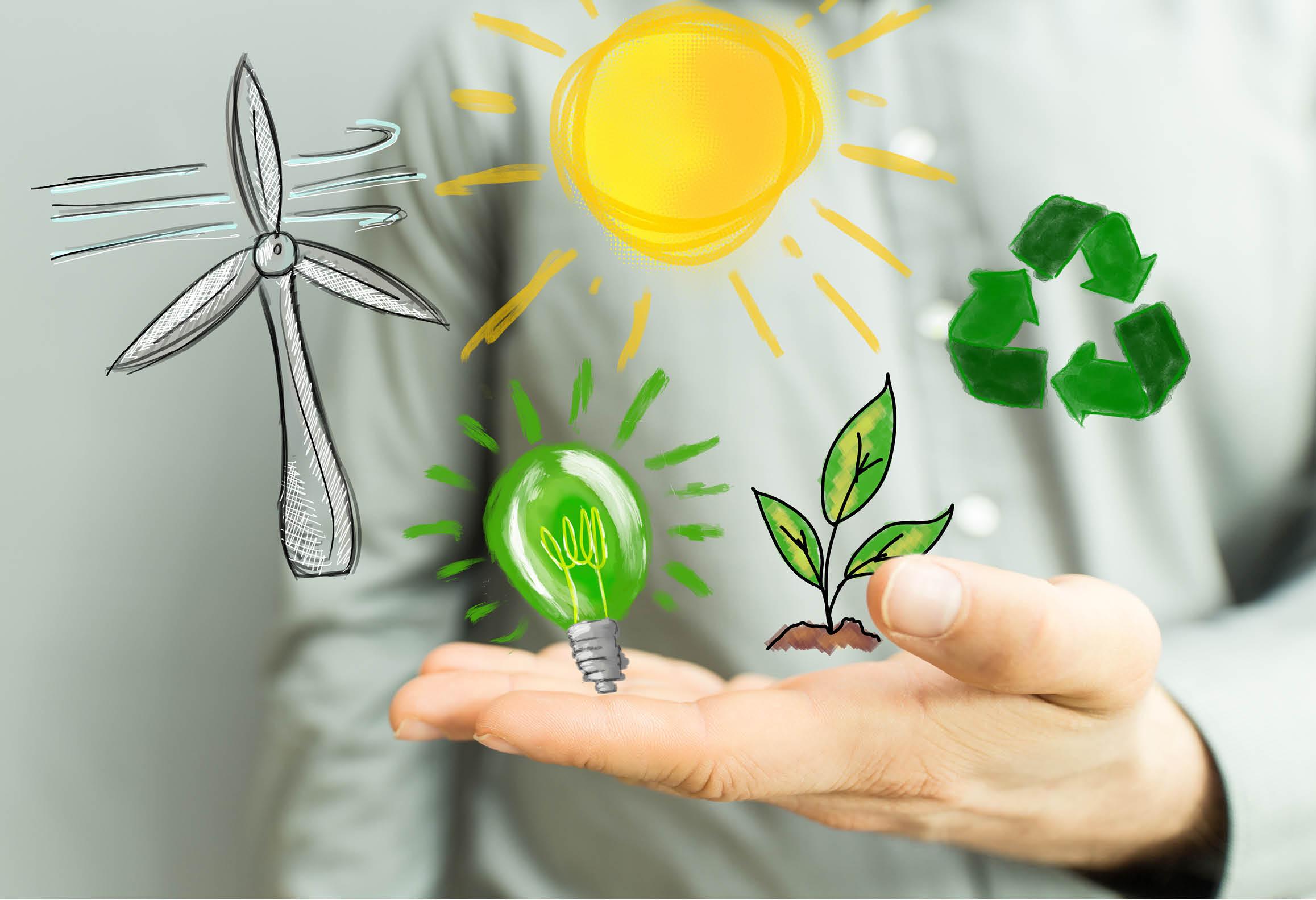 Bild som illustrerar hållbar energi och naturens kretslopp