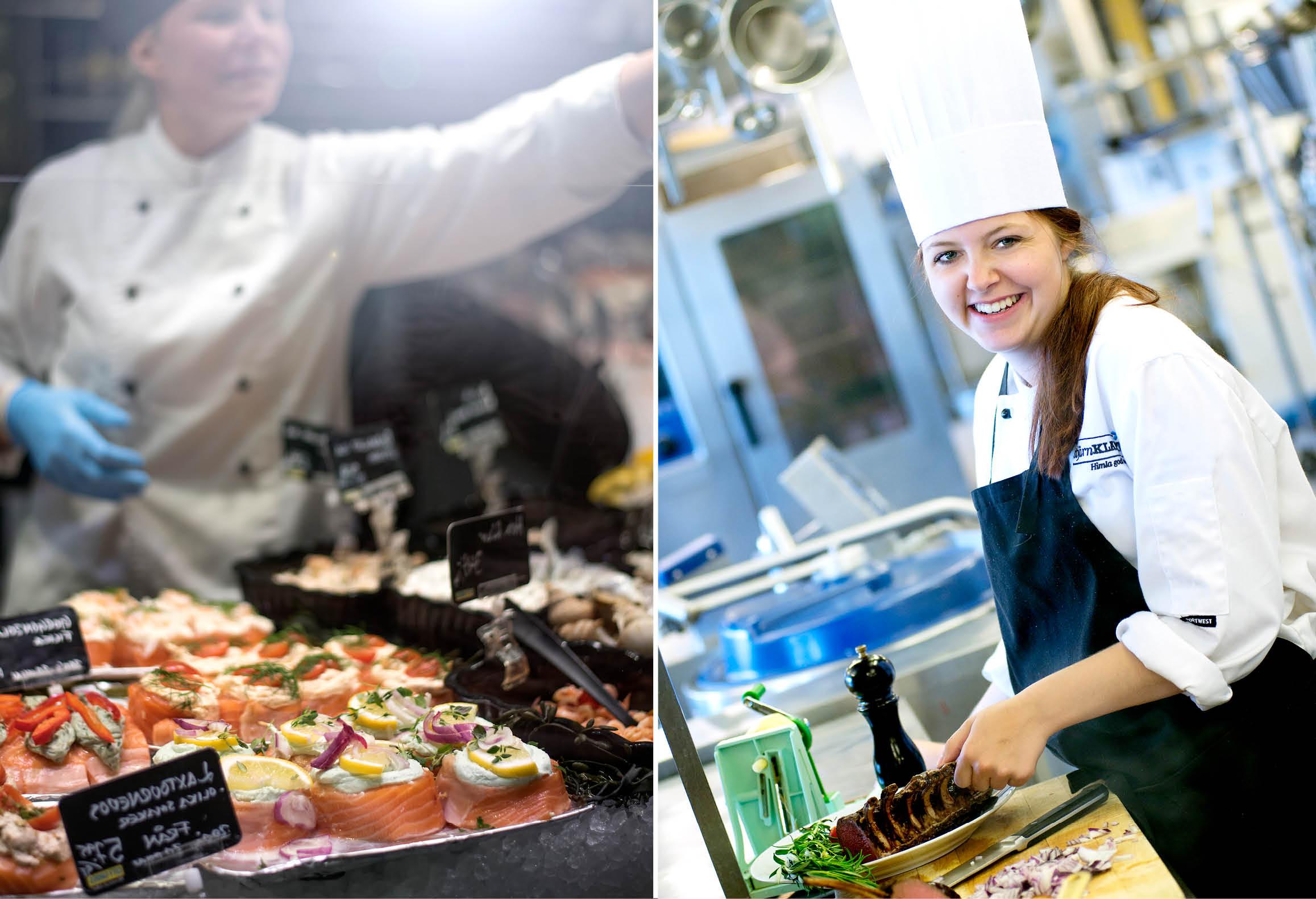 Vänster bild visar butikssäljare vid charkdisk. Höger bild visar kock som lagar mat i restaurangkök
