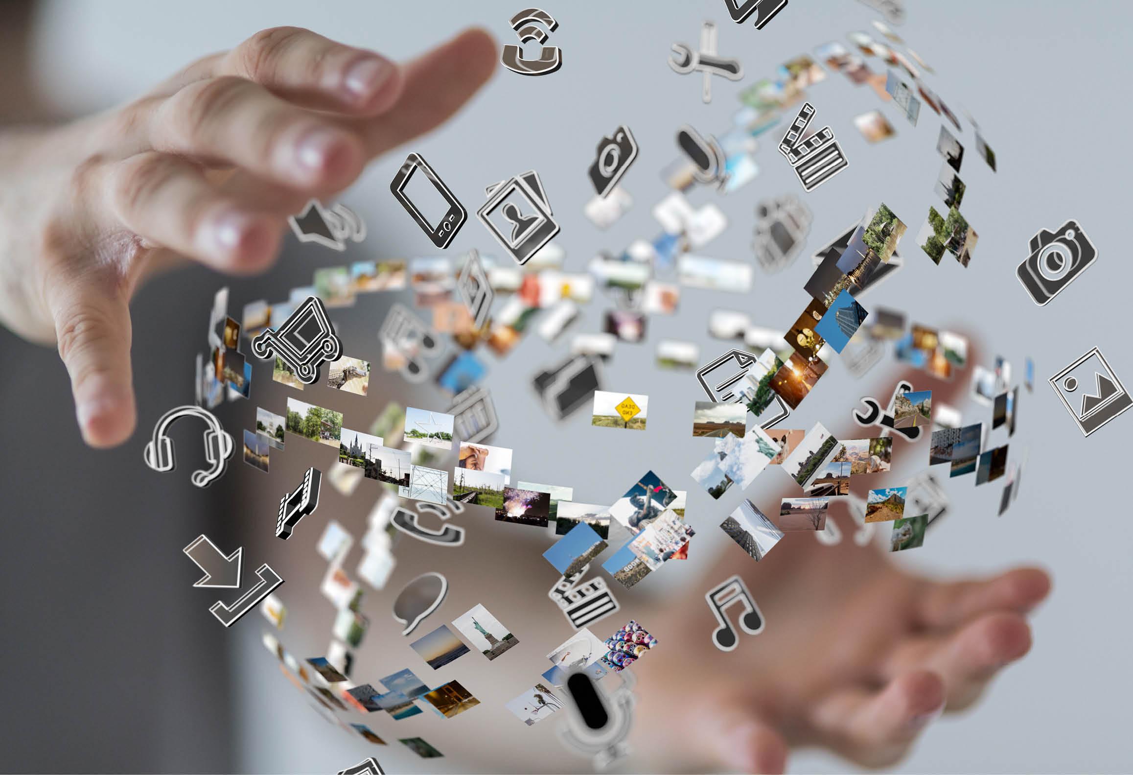 Bild som illustrerar det flöde av kommunikation, information och media som människor skapar