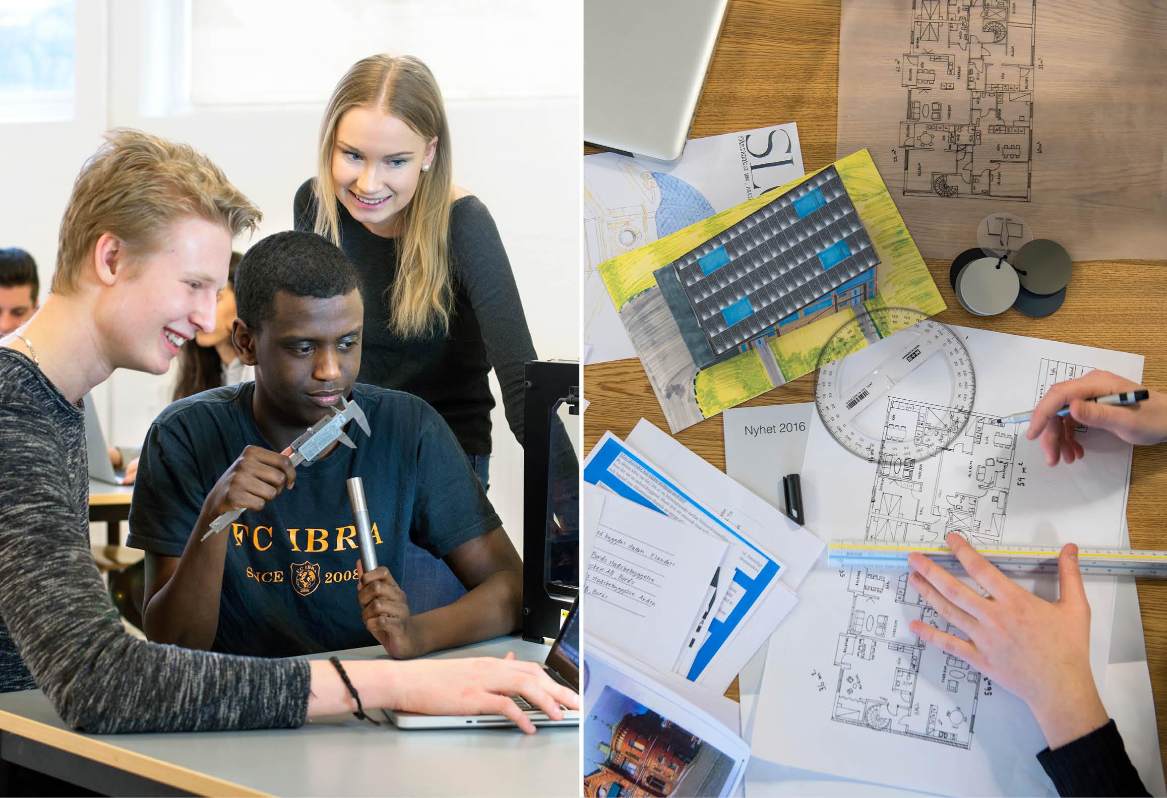 Elever som samarbetar i grupp samt bord med ritningar