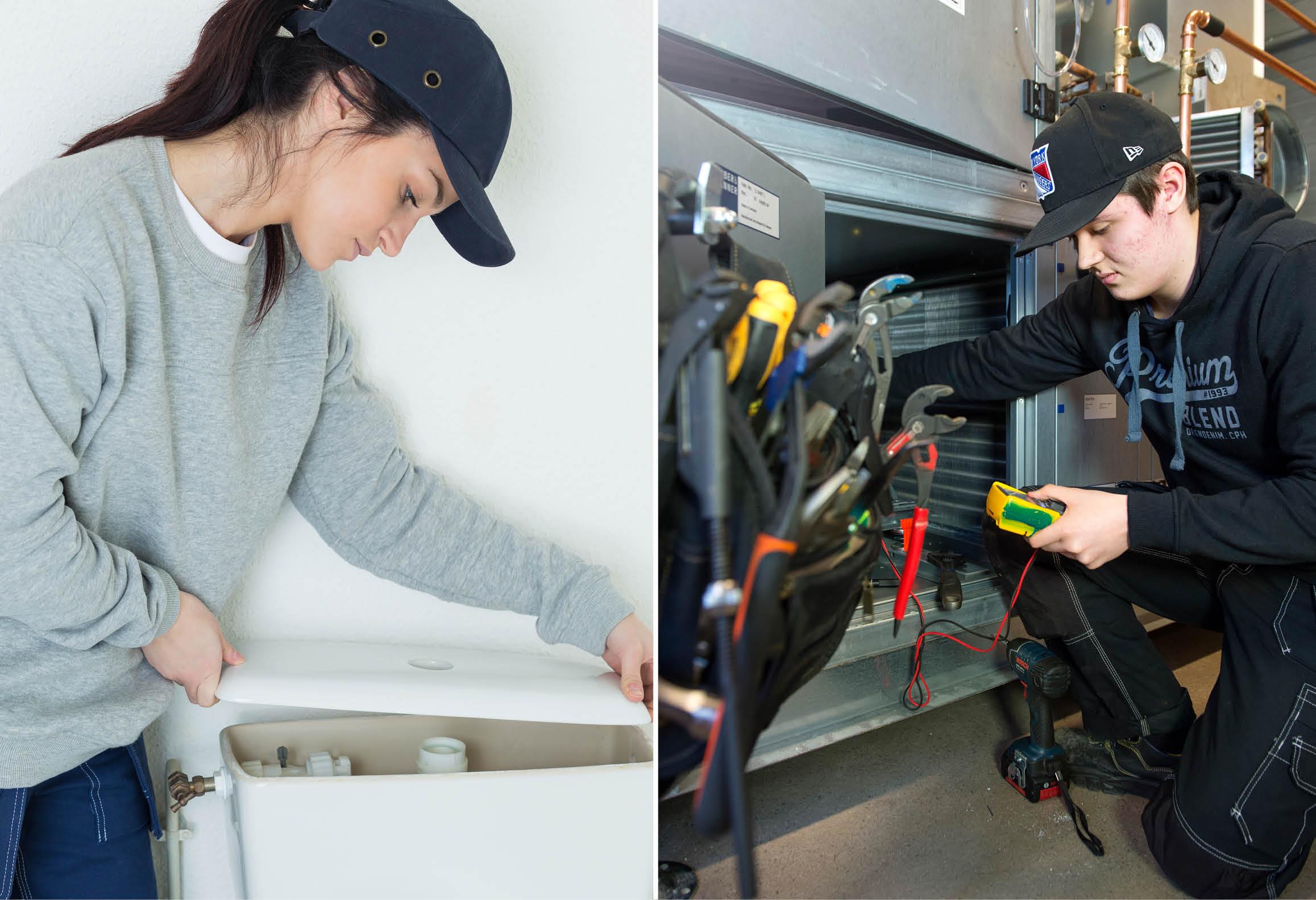 Vänster bild visar elev som monterar wc-stol. Höger bild visar elev som mäter i ventilationsskåp