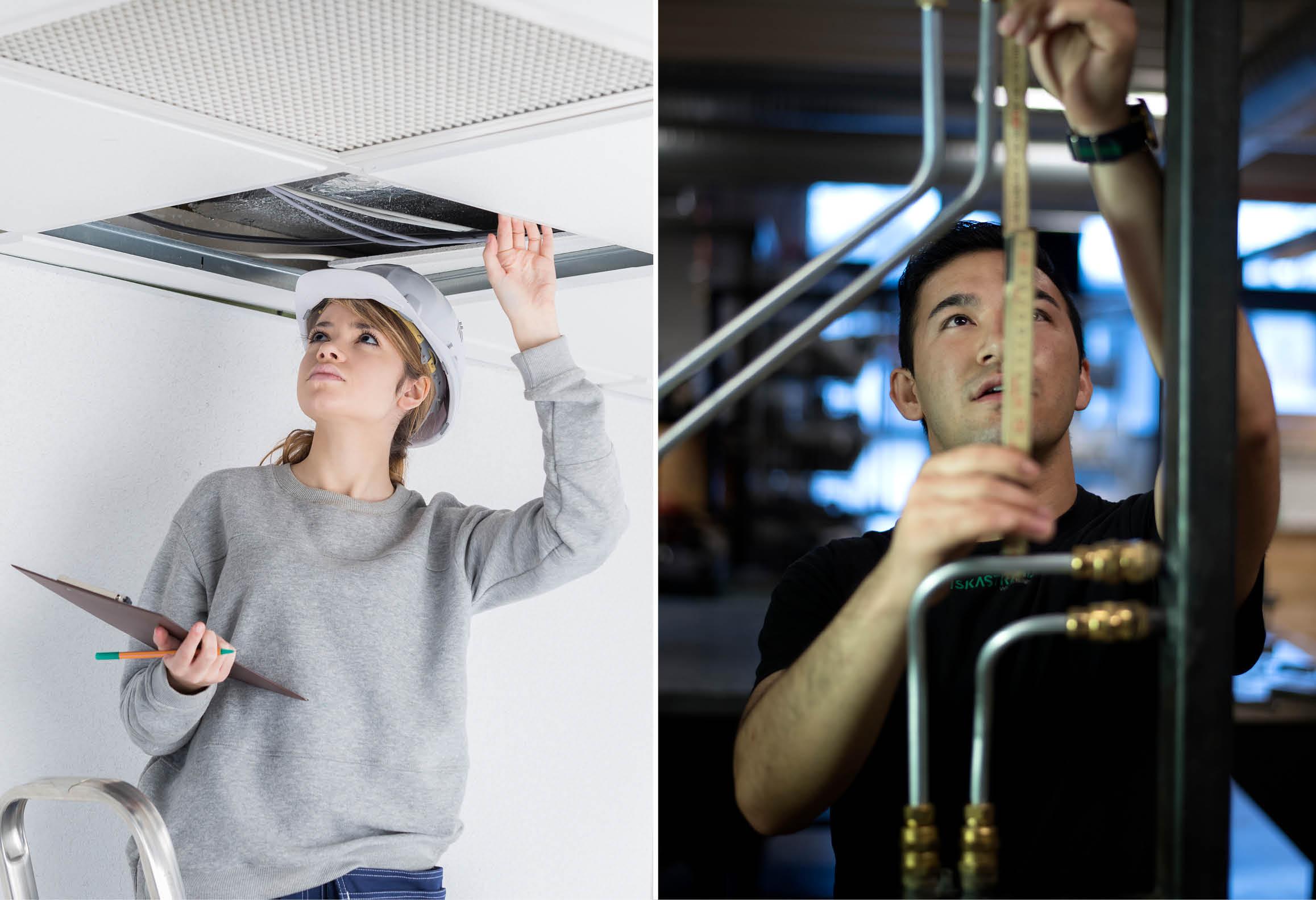 Elev som inspekterar ventilationstrumma samt elev som mäter VVS-installation