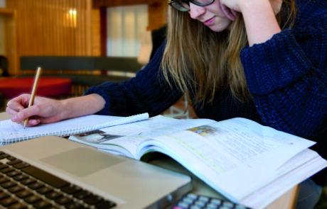 Elev som studerar med böcker och dator